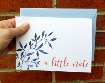 A Little Note Floral Greeting Card with Matching Blue Envelope