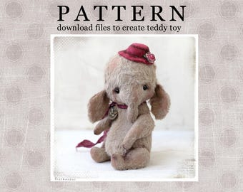 PATTERN Download to create teddy like Elefant Slonik in Hat) 5 inch
