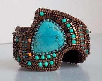 Summer sale Bracelet, Tibetan turquoise gemstone, Cuff, Ammonite, Bead Embroidery, Trending jewelry,Free Shipping, Seed bead bracelet,Bronze