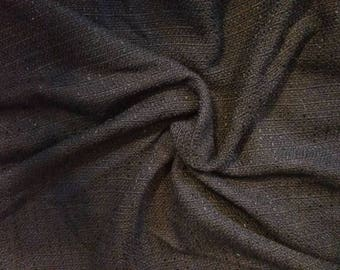 Retro Black Fabric in a Nubby + Loose Weave - Chunky Vintage Sewing or Upholstery Material, Black Fabric Remnant, Pillow Fabric, Black Decor