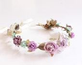 Lavender and Mint Floral Crown, Spring, Hair Wreath, Bridal headpiece, Hair Accessories, Wedding Flower Crown, Bohemian Halo