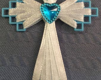 Blue Ribbon Cross with heart center Bookmark, Gifts, Necklace, Card Inserts, and more