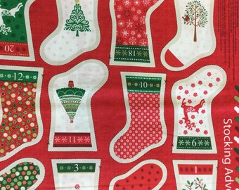 Makeower 1798 Decorative Mini Stockings 100% Cotton Fabric by the 60 cm panel