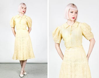 Vintage 1930s Yellow Lace Dress with Puff Sleeves and Glass Buttons