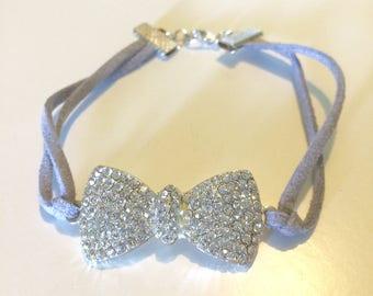 Grey Leather Rhinestone Bow Bracelet