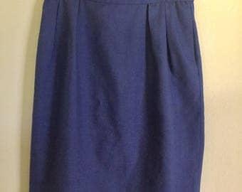 1980s blue pencil skirt, 80s purple pencil skirt, vintage pencil skirt, mad men skirt, medium skirt, large skirt, linen skirt, pin up skirt