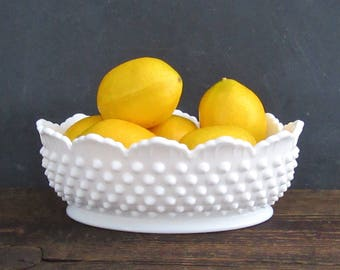 "Fenton 8"" Hobnail Milk Glass Oval Bowl, Fenton Hobnail Bowl, Fenton Milk Glass"