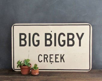 Vintage Metal Sign, Big Bigby Creek, Maury County Tennessee, Salvaged Road Sign, Industrial Home Decor