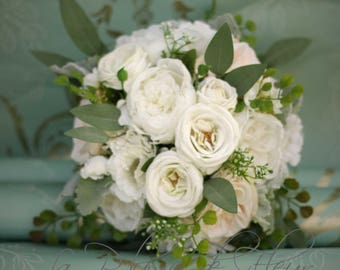 wedding bouquet eucalyptus bouquet rose and peony bouquet silk bouquet bridal bouquet - Garden Rose And Peony