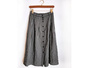 Vintage skirt checkered button down black and white mid length skirt 80s style library