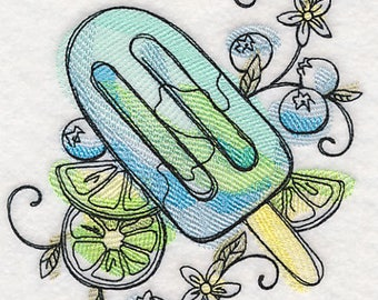 Sweet Summertime Popsicle #2 Embroidered on Plain Weave Cotton Tea Towel // Iron-on Patch // Kona Cotton Fabric Square