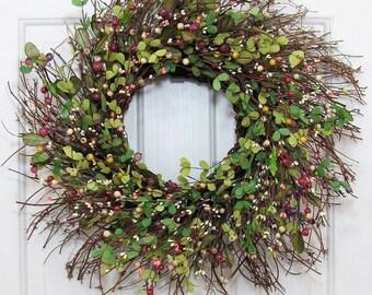 READY TO SHIP   Farmhouse Wreath   Country Home Decor   Spring Wreath    Cabin Decor