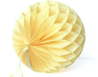 Sunshine yellow paper honeycomb ball - various sizes - yellow wedding party decorations- hanging decoration-baby bridal shower