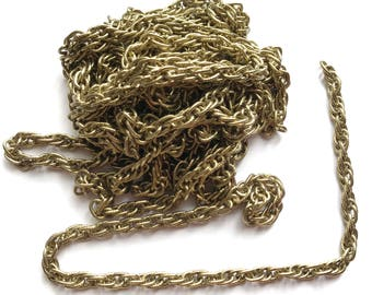 Vintage Textured Rope Chain, 11 Feet, Jewelry Chain, Textured Link Chain, Old Gold Plated, Antique Gold, Jewelry Making, B'sue,Item03552