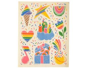 Vintage 80's HALLMARK Stickers Sheet ~ RAINBOW Confetti Sprinkles Hearts Ice Cream Star Flower Summer