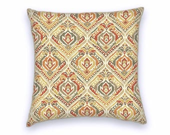 Orange Red Grey Cream Ikat Cotton Pillow Cover, Decorative Throw Pillow Cover, 18x18 or 20x20 or 22x22 Accent Pillow Cover