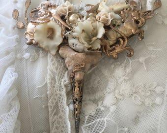 ooak statement bib necklace fairy vintage art  last unicorn reserved reserved