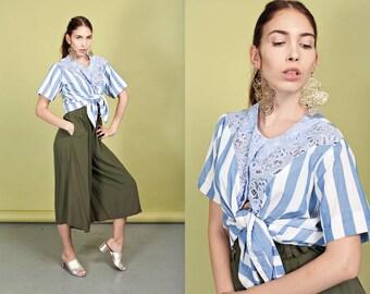 80s Blue Nautical Stripe Blouse Vintage Lace Striped Square Top