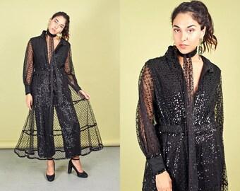 70s Black Lace Sequin Jumpsuit Vintage Gothic Sheer Evening Jumpsuit Dress