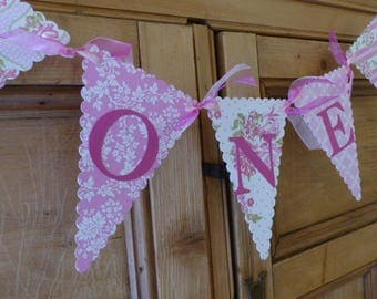 Girls First Birthday Banner - Tea Party Bunting - One Year Old - High Chair Sign, Photo Prop - Pink, Floral