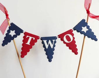 Red and Navy Blue Cake Topper - Boys Second Birthday Cake Bunting - TWO Year Old Boy