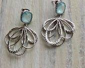 Aquamarine Silver Earrings, Vintage, Antique, Blue, Teal, Sparkly, Classic, Bridal