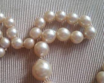 Vintage 10kt wHite Gold Cultured Pearl Necklace