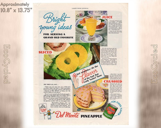 Ladies Home Journal 1935 Antique Del Monte Pineapple, Clapps, bra ad, Magazine Advertisements Antique Vintage Paper Ephemera art print ad 26