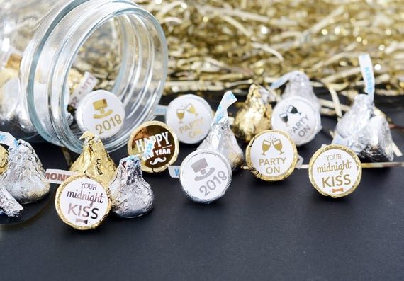 New Years Eve Party Decorations - 108 METALLIC Candy Stickers - New ...