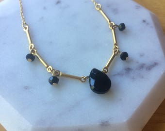 Black onyx crystal necklace on 22K gold plated bar chain (3 for 30!)