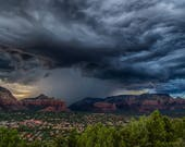 "Arizona Photography, ""Sedona Lightening"", Monsoon Storm, Red Rocks, Rain Clouds, Landscape Photo on Metallic Paper, Customizable On Request"