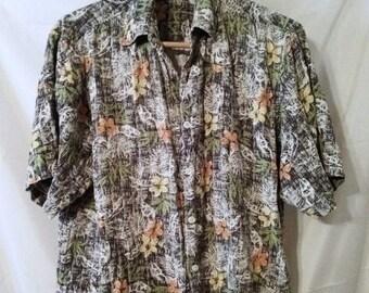 "BIG SUMMER SALE 80s Vintage Izod Silk Mans Hawaiian Hawaii Aloha Style Shirt-50"" Chest-xL-Luau-Beach-Resort-Cruise-Casual-Club"