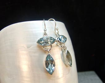 Sparkling Blue Topaz Sterling Silver Earrings