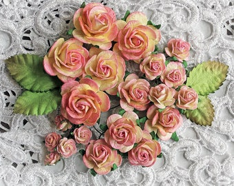 Reneabouquets Mini Roses And Leaves Flower Set-Mulberry Paper Flowers  - Pink Lemonade Set Of 24 Pieces In Organza  Bag