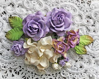Reneabouquets Curly Roses & Gardenias Flower Set -Lavender Fields Mulberry Paper Flowers - Set Of 15 Pieces In Organza Storage Bag