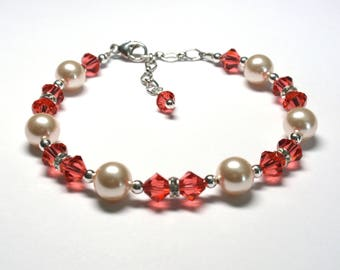Special Request- Fiona Bracelet w/Padparadcha Crystals & Creamrose Pearls
