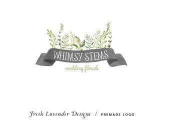 Logo with Leaves / Custom Logo / Leaf Logo / Florist Logo / Watercolor Logo / Photography Logo / Organic Logo / Logo Designer
