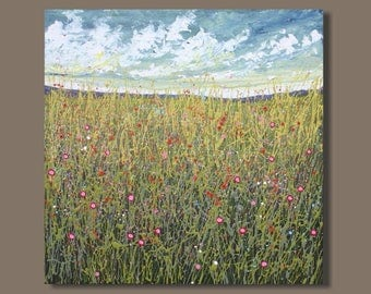 FREE SHIP semi abstract painting, field painting, square format, cloud painting, impressionist painting, drip landscape painting, meadow
