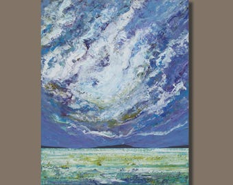 FREE SHIP large abstract painting, ocean painting, clouds, purple painting, vertical seascape, modern art, impressionist wall art on canvas