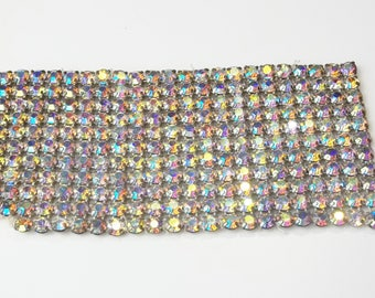 1950's Large Vintage Aurora Borealis Rhinestone & Metal Backing Sew On Applique Embellishment Gift For Her on Etsy