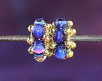 Purple Blue Dots PAIR Handmade Lampworked Glass Beads OOAK Purple Pink Blue Gold Rondelles Pair Lampwork