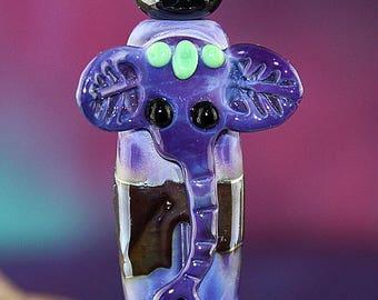 Purple Elephant Set of Three Handmade Lampworked Glass Beads OOAK Sculpted Elephant Rondelles Purple Eggplant Green Black Lampwork