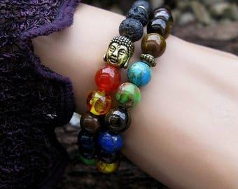 Life Force Harmony Chakra Cleansing Bracelet 2 Piece Set Metaphysical Reiki Kundalini Natural Gemstone Spiritual Mystical Aura New Age