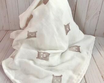 Bear Hand Stamped Bamboo Muslin Swaddling Baby Blanket