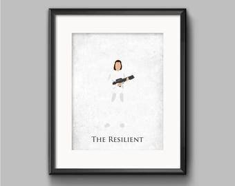 Star Wars The Empire Strikes Back - The Resilient - Princess Leia Art Print - poster, rebel, princess, star wars, minimalist