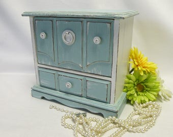 Painted Jewelry Box Vintage Upcycled - Sea Green and White - Shabby Chic, Cottage, Farmhouse Decor - Twin Girl Gifts