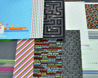 10 PC. Video Game/Techie Themed 12 x 12 Heavy Cardstock Paper
