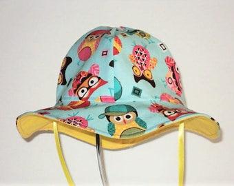 Baby Sun Hat, Toddler Hat, Baby Girl Sun Hat, Owl Hat, Summer Hat, Wide Brim Sun Hat, Newborn Hat, Floppy Beach Hat, Summer Clothes, Cotton
