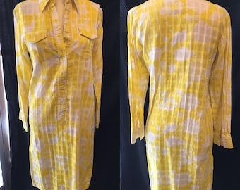 1970 lemon yellow basket weave on white shirt dress Lilly Pulitzer small