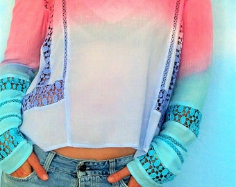 Bohemian top, Boho high low top Gypsy blouse,long sleeve top, summer crochet blouse, beach cover up , size Large, hippie clothes, boho style